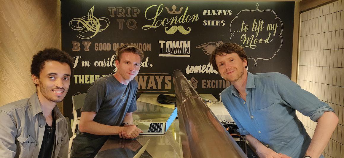 Calum Ryan, Bobby Sebolao, Neil Mather inside at ProvenDough cafe, London Covent Garden