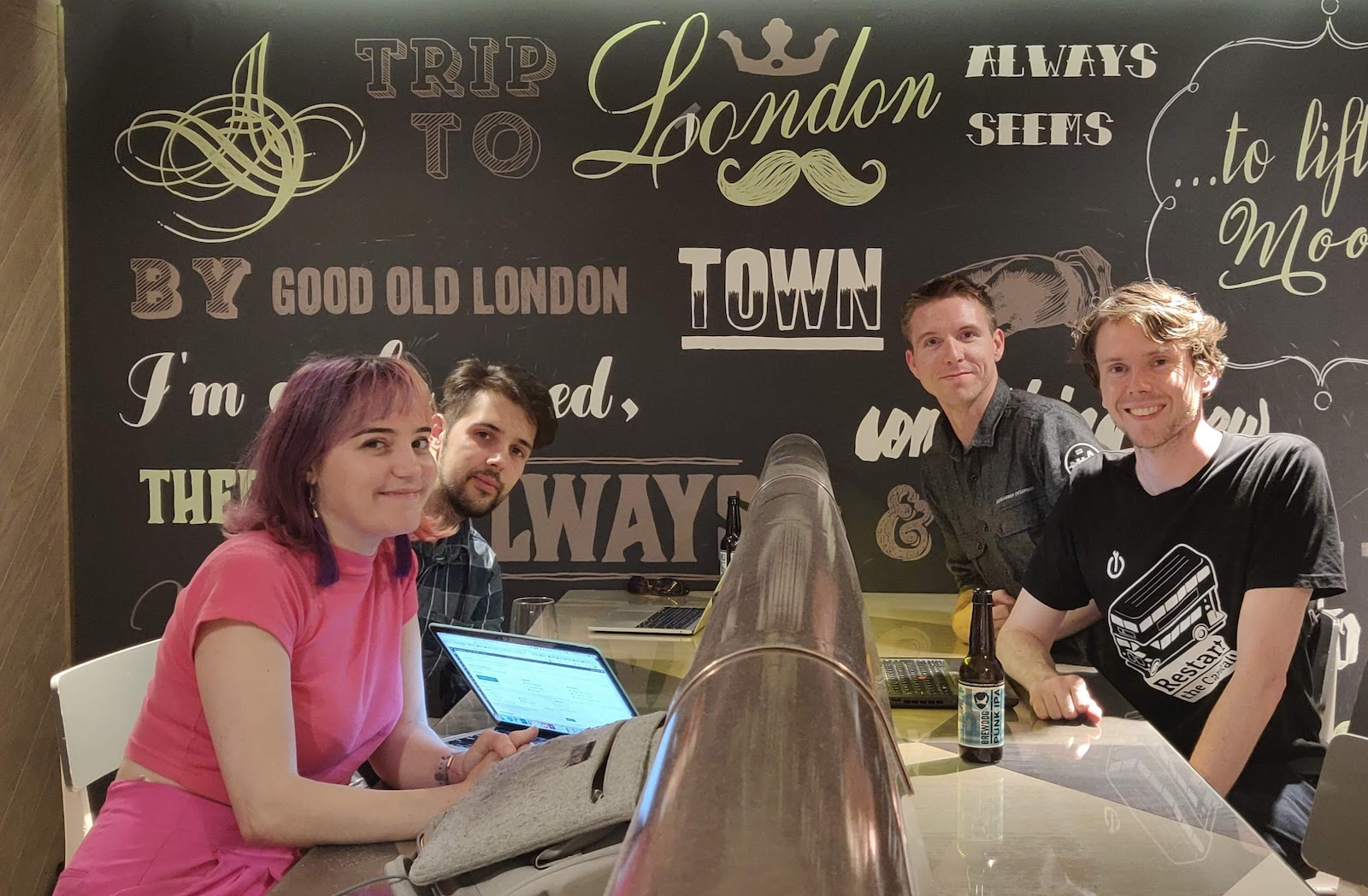 Lillian Karabaic, Josué Vázquez Rendo, Calum Ryan, Neil Mather inside at ProvenDough cafe, London Covent Garden 2019-08-21